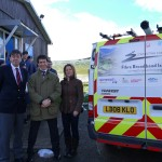 L-R Brendan Dick of BT, Rory Stewart MP and Councillor Libby Bateman with Appleby's Air Cadets