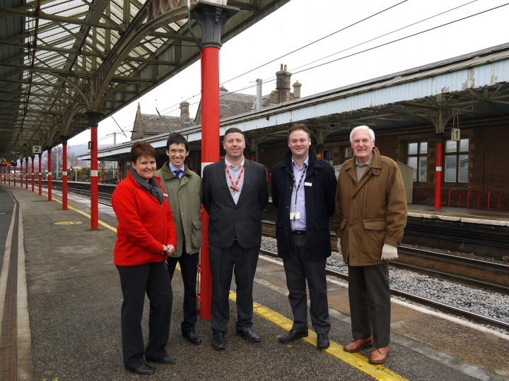 L-R: Suzanne Wardle, Penrith Station Team Leader; Rory Stewart MP; Councillor John Thompson; Mike Byrne, Penrith Station Manager; and Chris Winfield, Network Rail