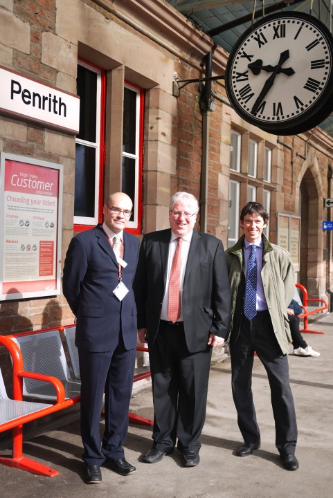 Rory Stewart MP and Secretary of State for Transport Patrick McLoughlin at Penrith Station