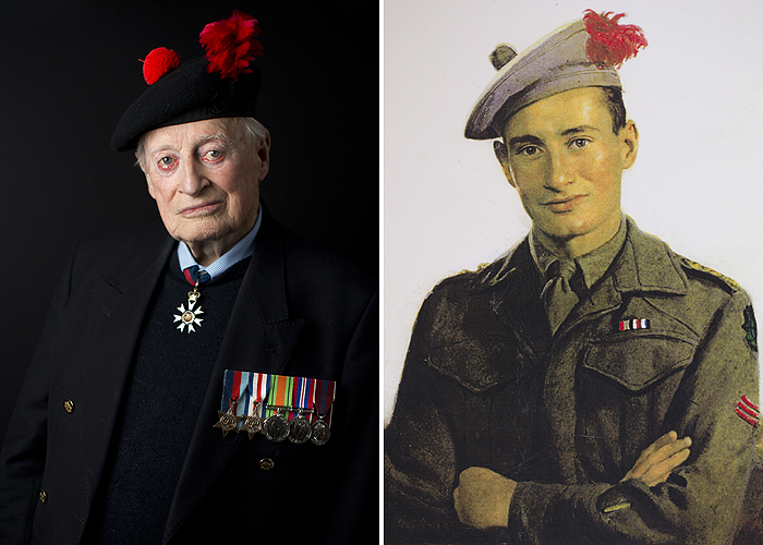Portraits of Brian Stewart, 2015 and 1944.