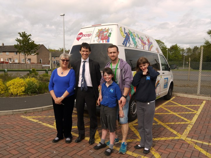 From Left to Right: Sheila Gregory (Carlisle Mencap), Rory Stewart MP, Team Leader Stuart Cowper, and beneficiaries Georgia and Erin