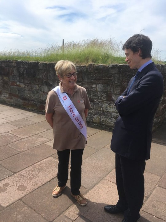 Rory Stewart MP with Carlisle Castle Volunteer