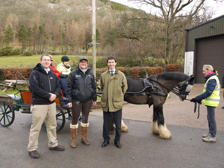 Left to right: Centre Director Sean Day, Stables Manager Henri Carew, and Rory Stewart MP