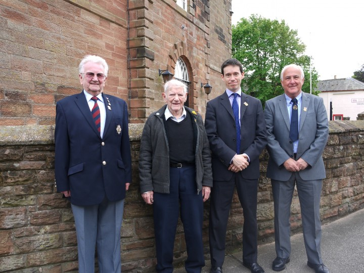 Rory and veterans in Wigton - Left to Right: Derek Williamson, Tommy McAvoy, Rory Stewart and James Smith.