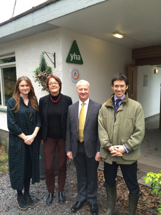 (left to right: centre manager Ellie Parkinson, YHA Chief Executive Caroline White, YHA Chairman Peter Gains and Rory Stewart MP)