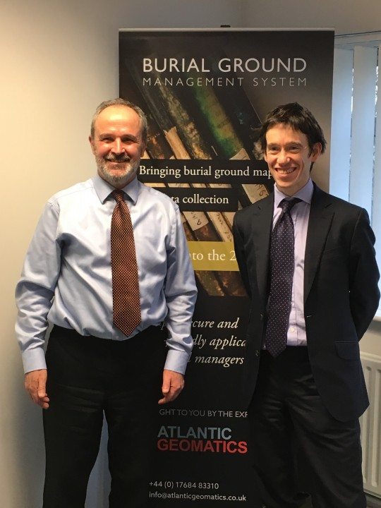 (Tim Viney, Managing Director, Atlantic Geomatics with Penrith and The Border MP Rory Stewart)